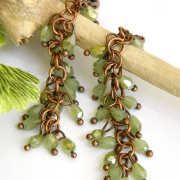 Green Earrings, Beaded Earrings, Copper Earrings, Handcrafted Jewelry, Handmade Earrings, Crystal Earrings, Long Earrings, Artisan Earrings
