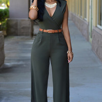 Sleeveless Deep Wrap V-Neck Belted Wide Leg Jumpsuit