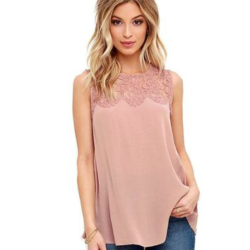 Summer 2017 Patchwork Floral Lace Women Casual Top Sleeveless Elegant Office Work Blouse Lady Shirt High Quality Blouse