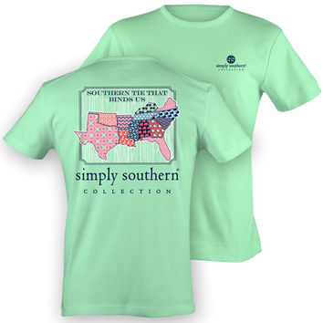 Simply Southern Preppy Tie That Binds Us States Anchor Girlie Bright T Shirt