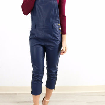 Navy Faux Leather Overalls