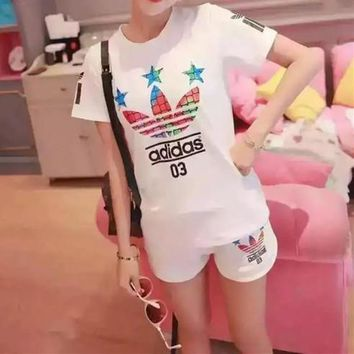 """Adidas"" Women Casual Letter Star Print Short Sleeve Shorts Set Two-Piece Sportswear"