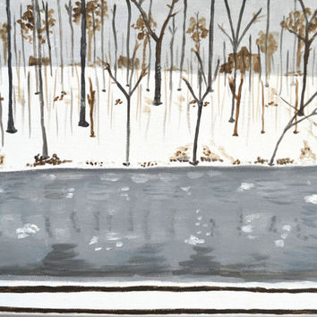 Winter River Original Painting, Snowy River Bank, Trees in Winter, Woods in Winter, Snow Landscape, Winter Canvas Painting, Grey brown Art