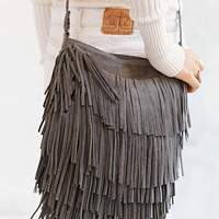 Ecote Suede Layered Fringe Crossbody Bag - Urban Outfitters