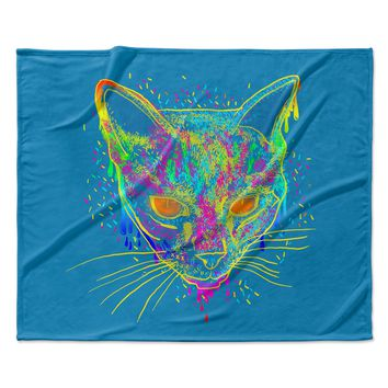 "Frederic Levy-Hadida ""Candy Cat Blue"" Blue Rainbow Fleece Throw Blanket"
