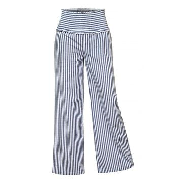 LE3NO Womens Elastic Waist Loose Fit Striped Palazzo Wide Leg Linen Pants