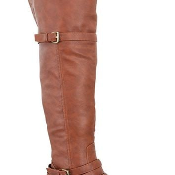 TAN CRINKLE FAUX LEATHER DUAL BUCKLE FLAT OVER-THE-KNEE BOOTS