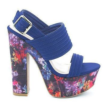 Leela10 Blue By Bamboo, Sling back Open Toe Abstract Platform Chunky Casual Heels