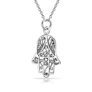 Hamsa Hand OF Fatima Filigree Pendant Necklace 925 Sterling Silver