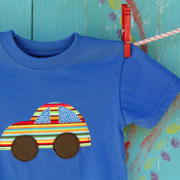 Children's Appliqued Tshirt Car Applique on Blue by OddEDesigns