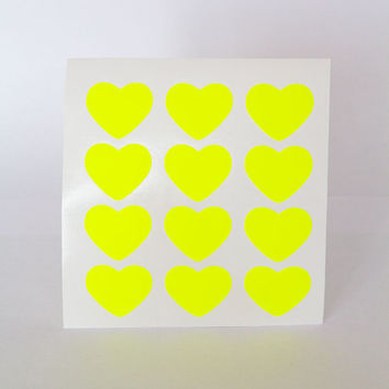 """60 yellow neon sticker, heart sticker, bright paper sticker, letter envelope seal, heart label, self adhesive, bag seal, gift packaging 1"""""""