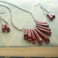 Red Jasper and Silver Jewelry Set