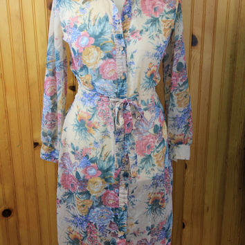 Vintage sheer floral button down day dress / summer  / Medium / Large