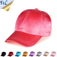 2016 Silky Satin Cap Gorras Solid Color Satin Silk Hat Fashion Women Casual Baseball Hats Ladies Snapback Sport Hip Hop Cap