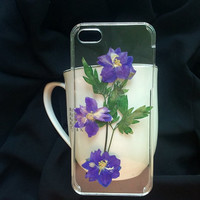 Beautiful pressed flower iphone case dry flower iphone case for iphone 4 iphone 4s iphone 5 iphone 5s iphone 5c cover clear iphone 5s case