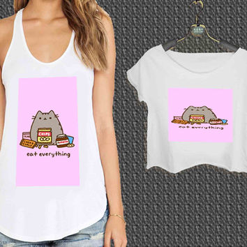 Pusheen Eat Everything For Woman Tank Top , Man Tank Top / Crop Shirt, Sexy Shirt,Cropped Shirt,Crop Tshirt Women,Crop Shirt Women S, M, L, XL, 2XL*NP*