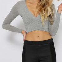 Gray Tie Knot Back Cross Front Crop Top