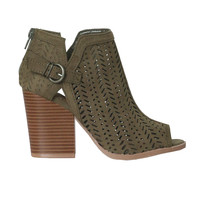 Lasercut Peep Toe Booties
