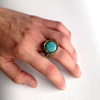 Amazonite turquoise stone  gold  witch ring boho gypsy women - solid sterling bronze made to order