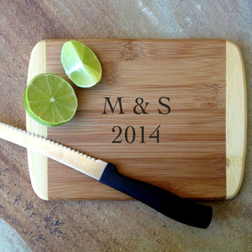 "Personalized Bamboo Bar Board 8"" x 6"", Custom Engraved Bamboo Cutting Board: Wedding, Housewarming, Father's Day, Aniversary"