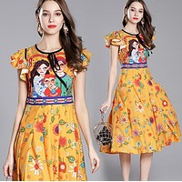 GUCCI Popular Women Personality Cartoon Print Round Collar Dress
