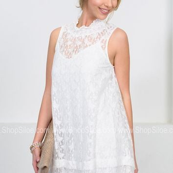 Butterfly's Lace White Dress