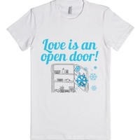 Love Is An Open Door-Female White T-Shirt