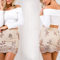 ♡ Sequin Lace Mesh Women Skirt Sexy Party Skirt Bodycon Pencil Skirt ♡