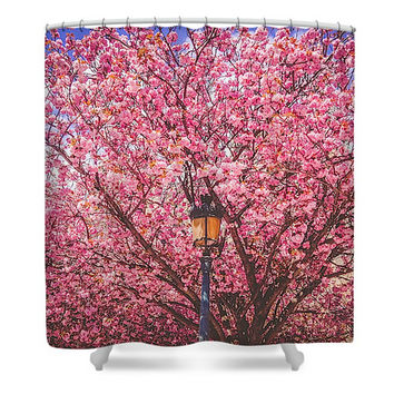 Paris in Pink Blooms April in Paris Polyester Fabric Shower Curtain