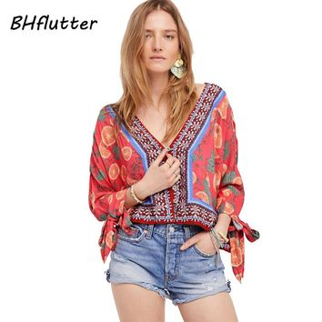 New Blouse Shirt Women V neck Floral Print Chiffon Tops Summer Blouses Button Lace up Sleeve Casual Shirts