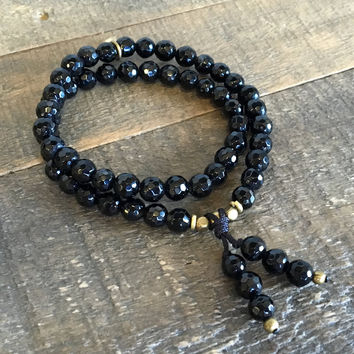 Soothing and Patience, Onyx 54 Bead Mala Wrap Bracelet