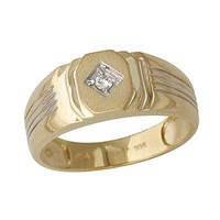 Men's Diamond Ribbed Ring 10k Yellow Gold