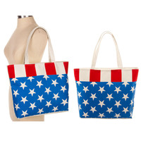 Women Beach Fashion Handbag Shoulder AMERICAN FLA CANVAS Large Tote Shopping Bag