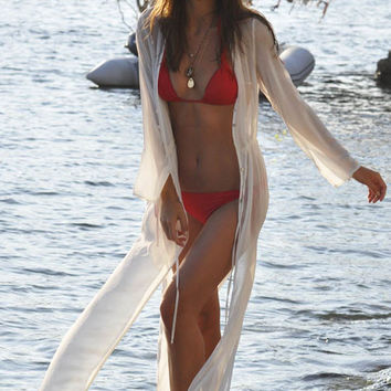 White Chiffon Swimwear Cover Up with Slits Detail