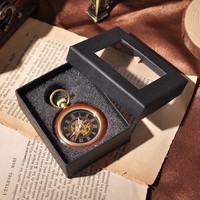Wooden Gold Round Men Mechanical Hand Winding Emblem Back Carved Chain Cool Normal Watch Sales Quality Necklace Watch