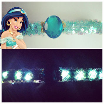 LED Princess Jasmine Crown sequin Headband for raves music festivals EDC