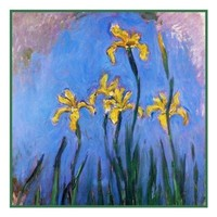 Yellow Irises detail inspired by Claude Monet's impressionist painting Counted Cross Stitch or Counted Needlepoint Pattern