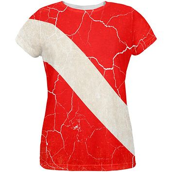 Diver Down Distressed Weathered Flag All Over Womens T Shirt