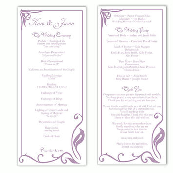 Wedding Program Template DIY Editable Word File Instant Download Program Lavender Wedding Program Purple Program Printable Program 4x9.25