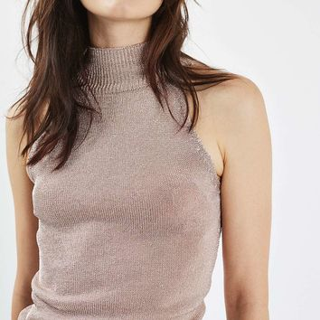 PETITE Metal Yarn Crop Knitted Top | Topshop