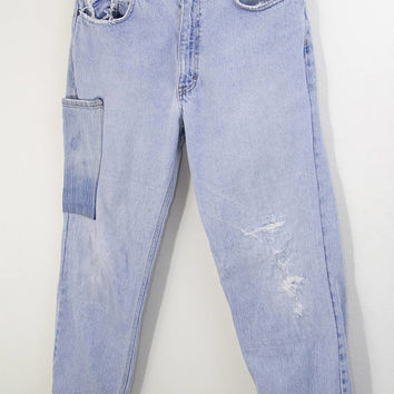 CALVIN KLEIN DENIM // ck denim pants / calvin klein jeans / distressed / frayed / grunge / light wash / 90s vintage / mens / 32