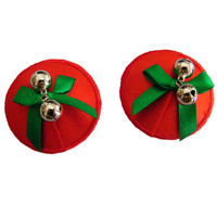 Red with Green Bow and Bell Pasties