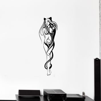Wall Decal Girl Cat Sexy Naked Beautiful Fantasy Vinyl Sticker (ed1135)