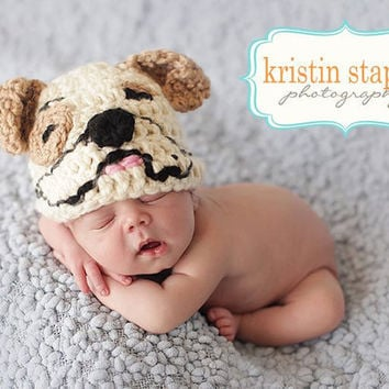 Crocheted Organic Cotton Baby Bulldog Hat Made to Order You Choose Size Preemie to 2T