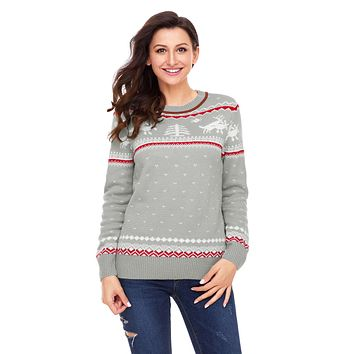 Chicloth Gray Christmas Reindeer Knit Sweater Winter Jumper
