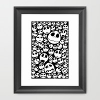 Halloween Jack Skellingtons emoticon face pattern Framed Art Print by Greenlight8