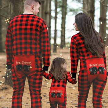Family Pajamas Mother Father Kids Baby Plaid Print Sleepwear Christmas Nightwear CARTOON Bear Outfits Family Matching Clothes