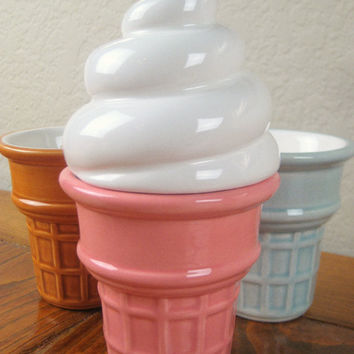 Ceramic Ice Cream Cone Box Pink Celadon and Caramel by modclay