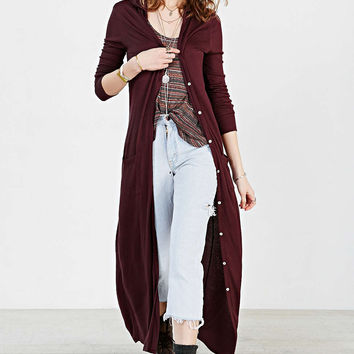 Casual Hooded Button Down Maxi Dress