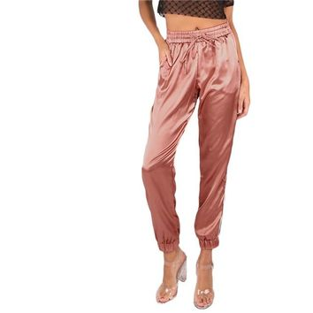 Mid Waist  Satin Drawstring Trousers